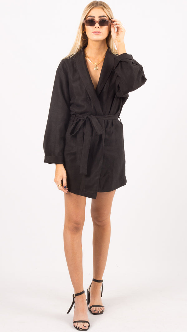 Stillwater Black Long Sleeve Wrap Dress
