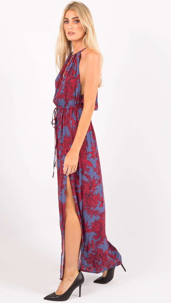 Stillwater Red and Blue Floral Maxi Dress