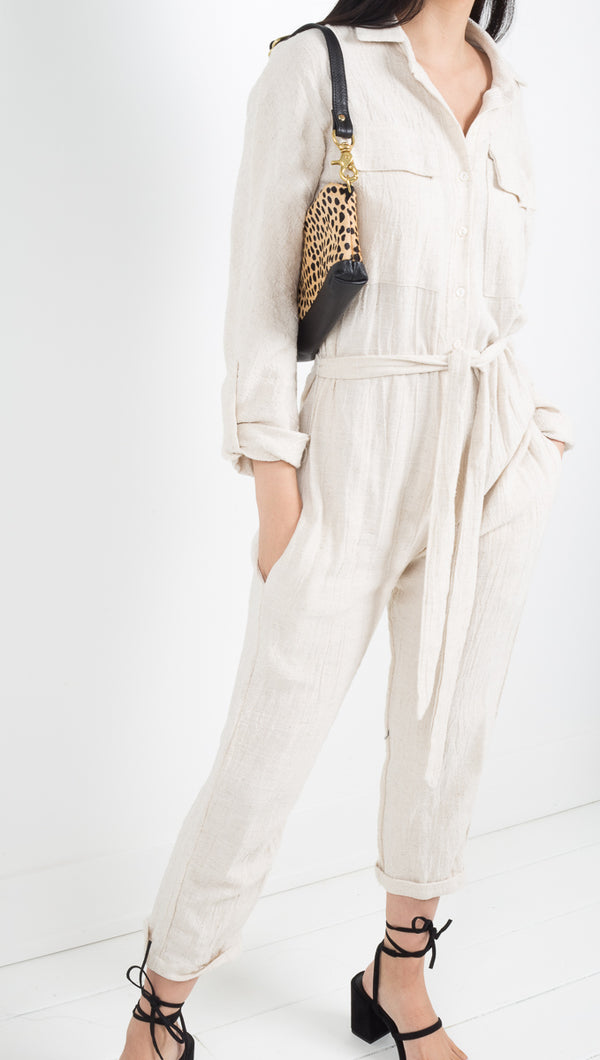 Stillwater beige linen long sleeve jumpsuit