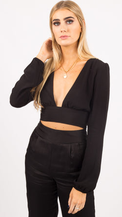 The Mila Wrap Top - Black