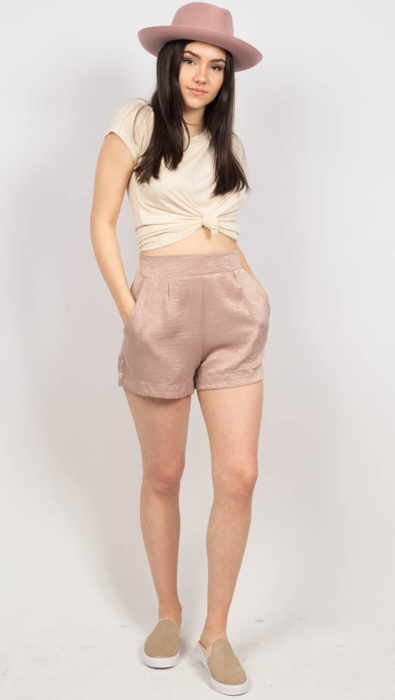 Nude High Waist Shorts