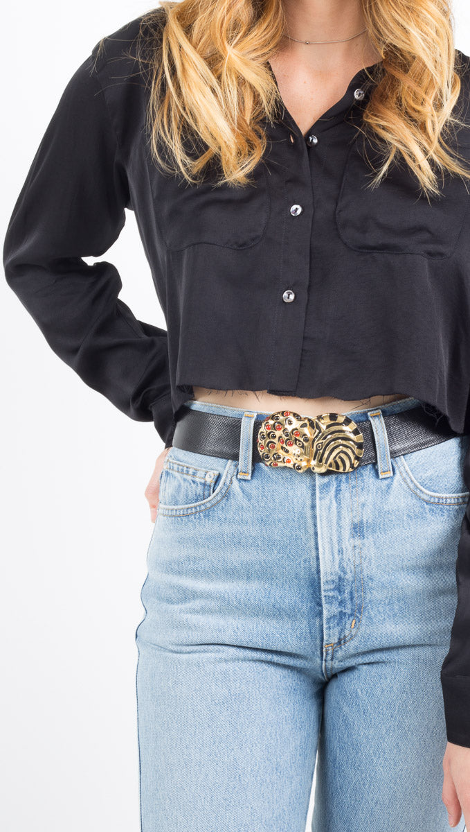 Stillwater silky black long sleeve crop button down blouse