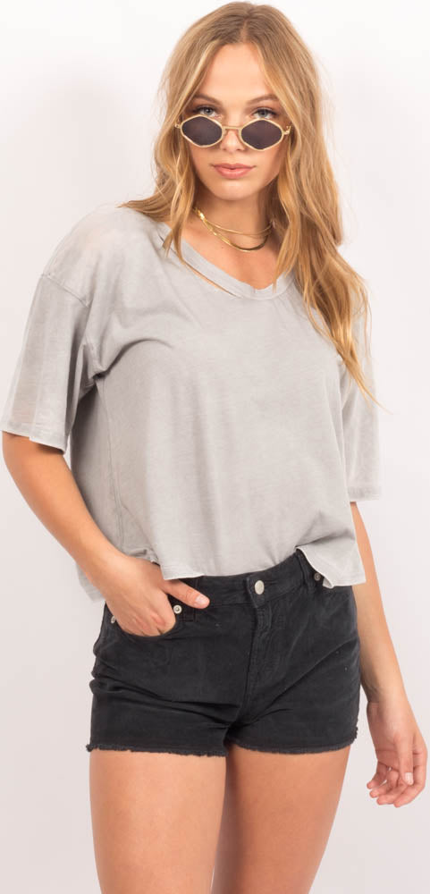 Crop Tee - 50/50 Burnout Touch Of Grey