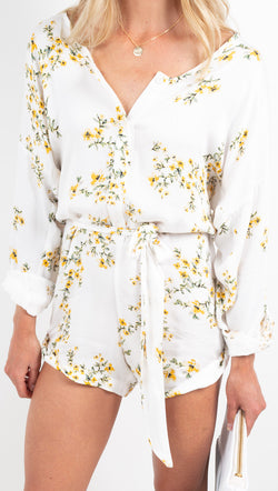 Stillwater white/yellow floral romper