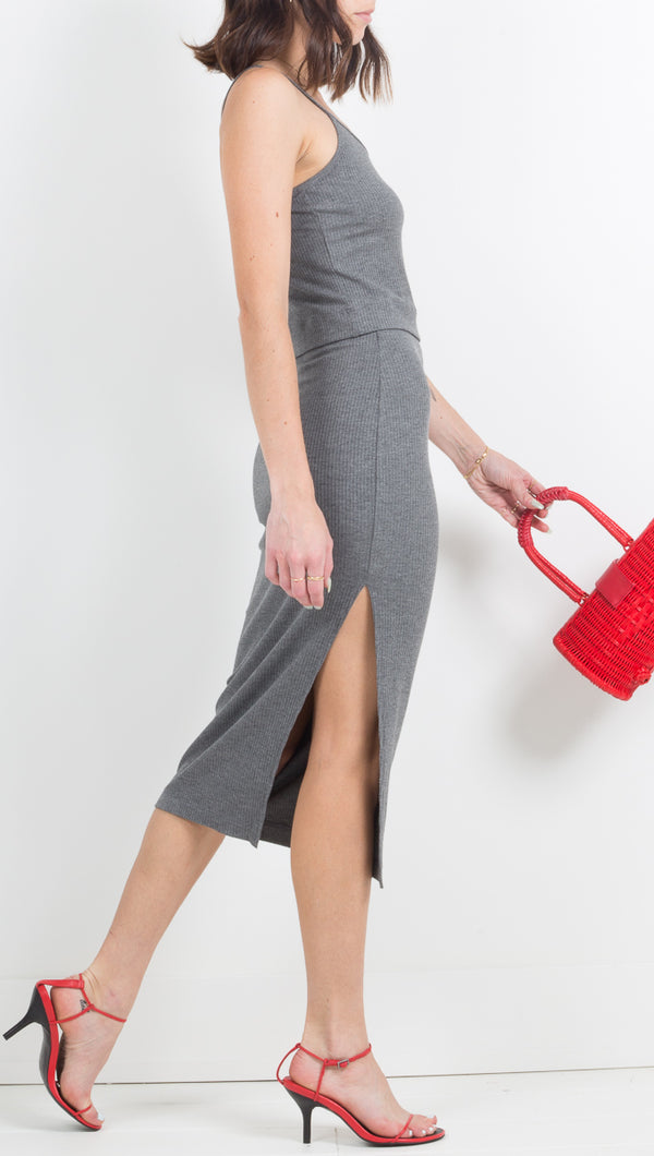 Stillwater Rib Knit Dark Grey Charcoal Maxi Skirt