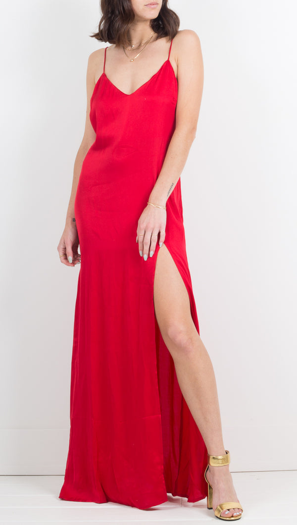 Stillwater Long Maxi Silk Slit Dress in Red