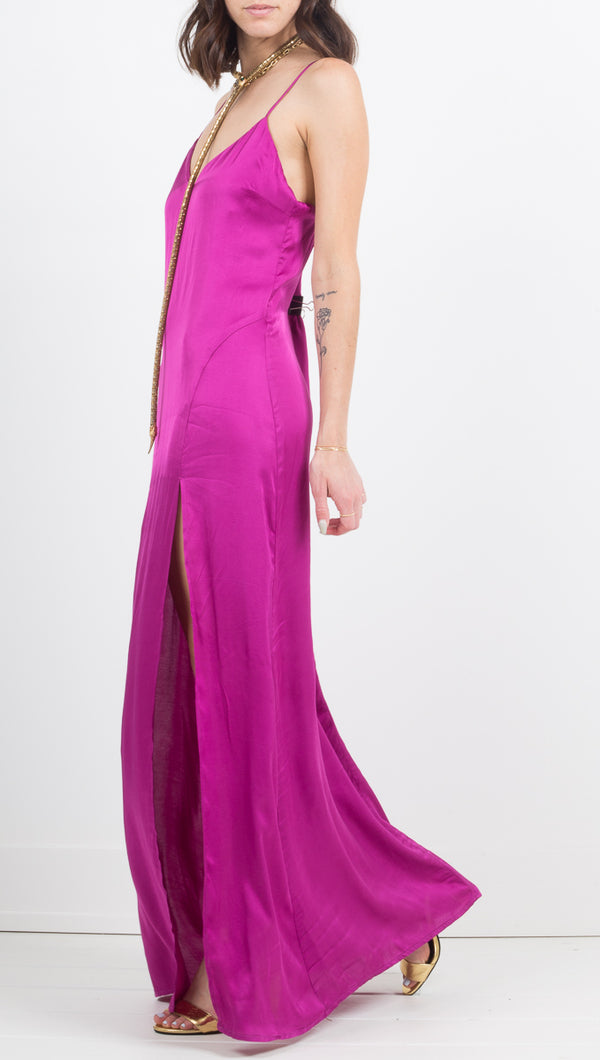 Stillwater Long Maxi Silk Dress with Slit in Fuschia