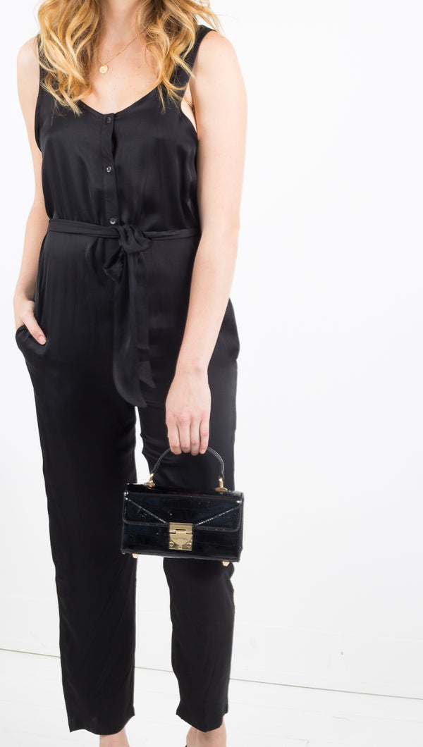 Stillwater black button-front tank jumpsuit