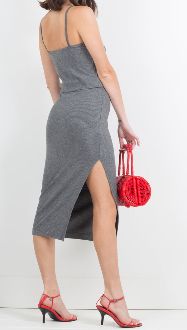 The Rib Edit Skirt - Charcoal