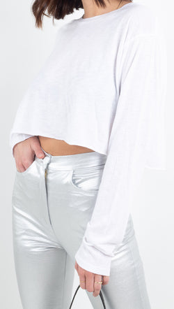 Stillwater white cropped long sleeve with raw hem