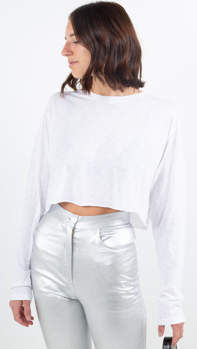 The Boyfriend Crop Long Sleeve - White