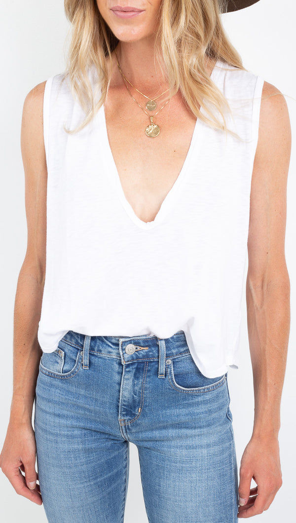 Stillwater deep u neck white tank