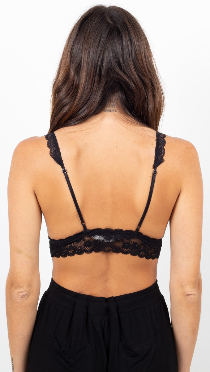 Ribbed Lace Trim Bralette - Black