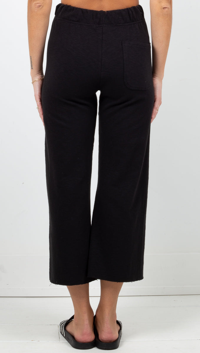 Knit Culotte Sweatpants - Black