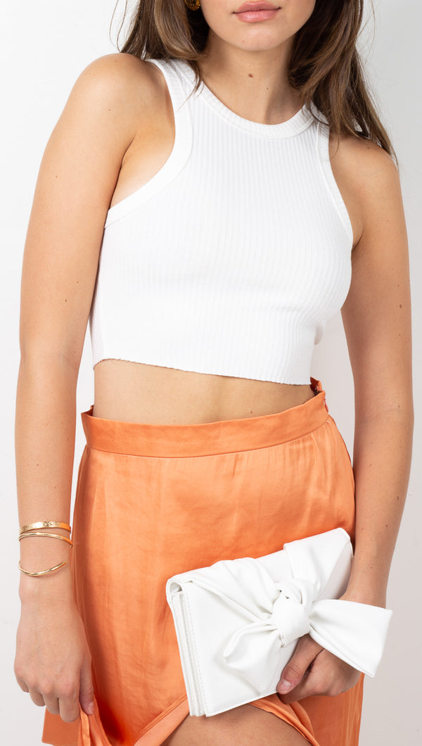 stpl White Ribbed Racer Crop Tank
