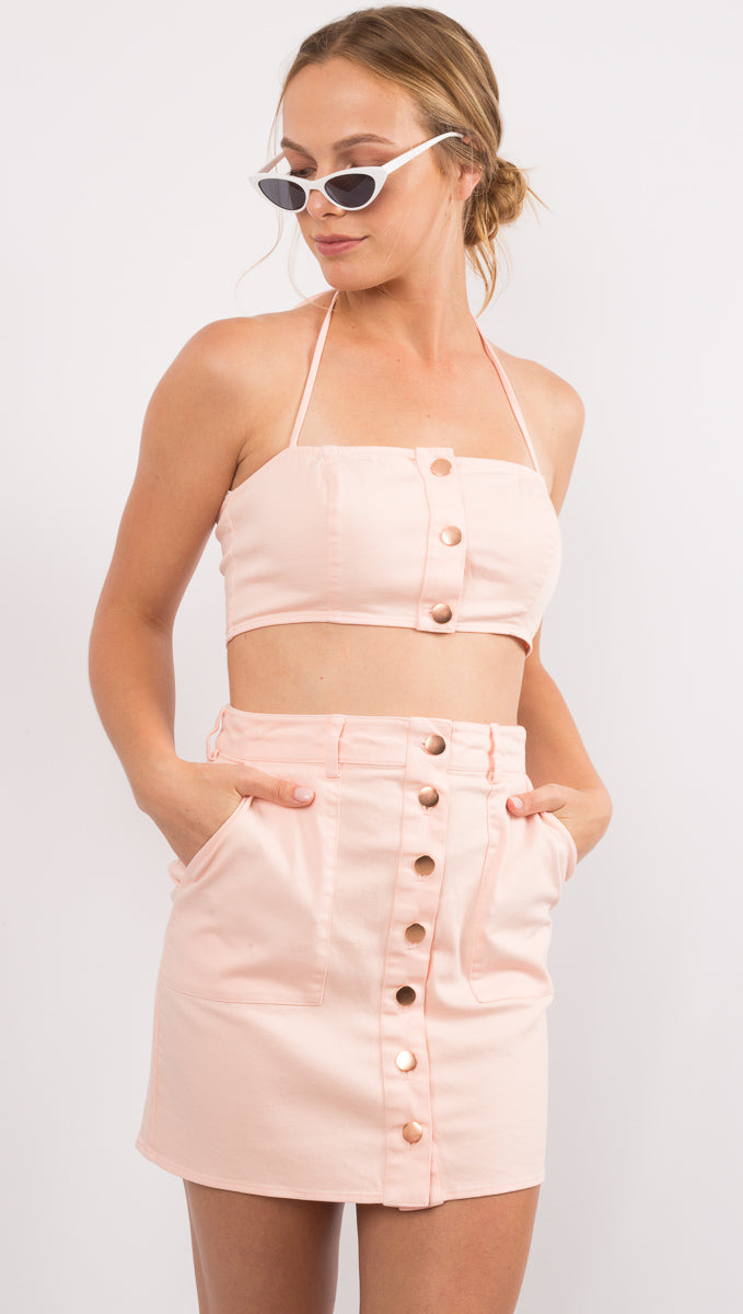 Pink Button Down High Waist Mini Skirt