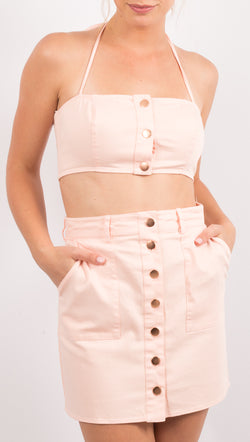 Pink Button Down Halter Crop Top