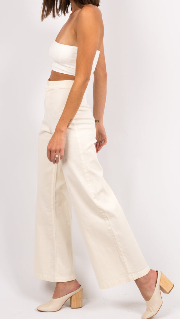 Cream High Waist Flare Leg Pants