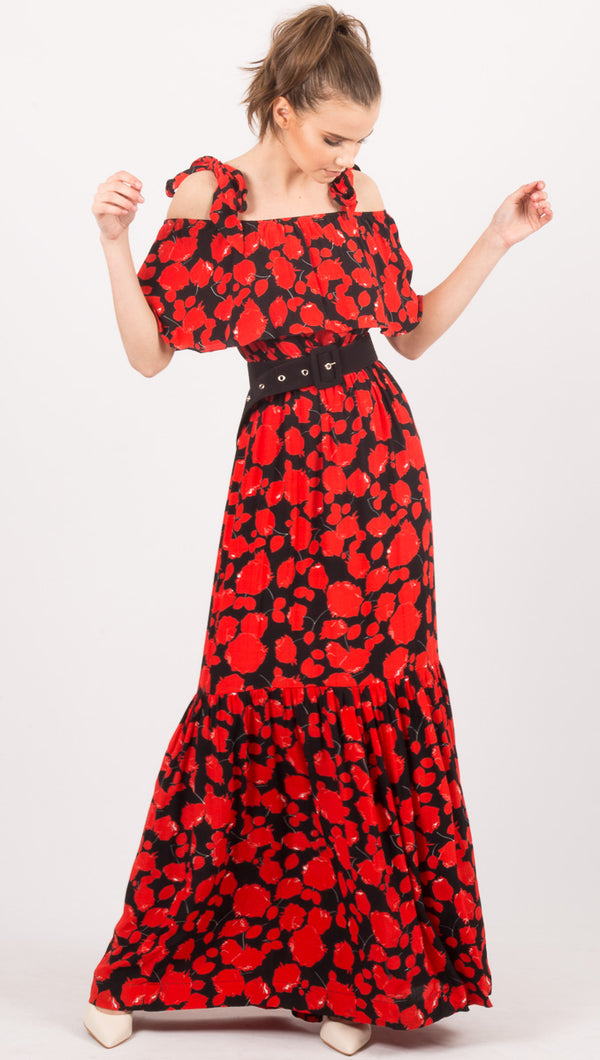 SWF Black/Red Floral Gown