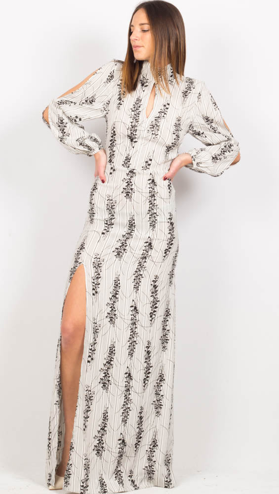 White/Black Pattern Maxi Dress