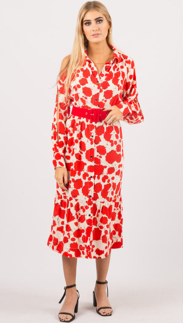 SWF Red Floral Long Sleeve Midi Dress