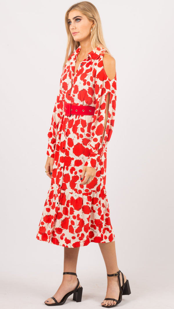 Souvenir Poppy Dress - Red/White