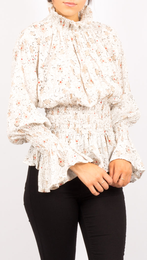 White Floral Long Sleeve Turtleneck Blouse