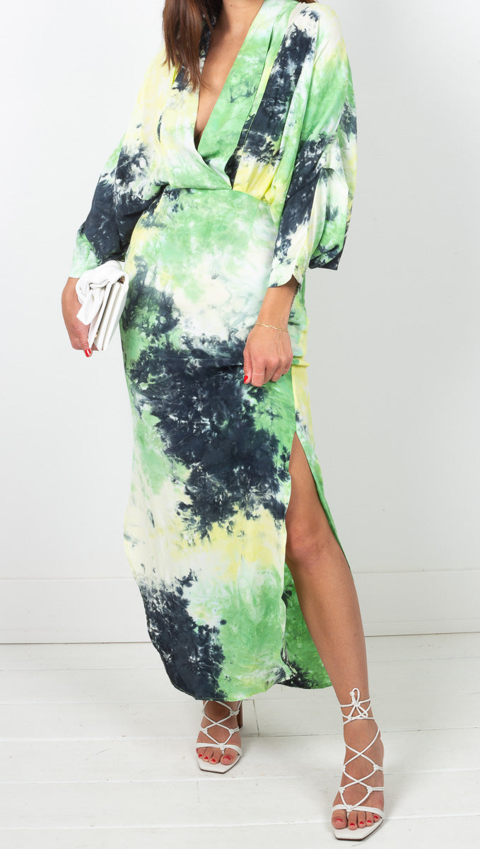 SWF Blue Green Tie Dye Draped Maxi Dress