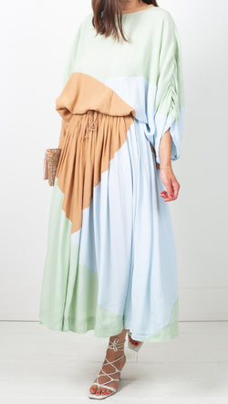 SWF Neutral Color Blocking A-Line Midi Skirt