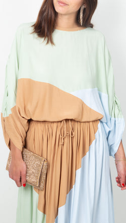 SWF Neutral Color Blocking Draped Blouse