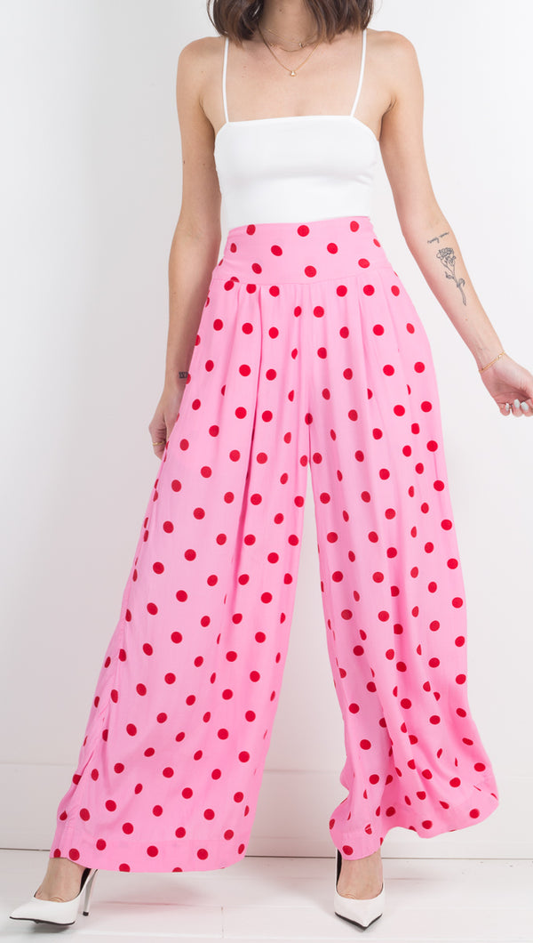 SWF Pink and Red Polka Dot Wide Leg Pant