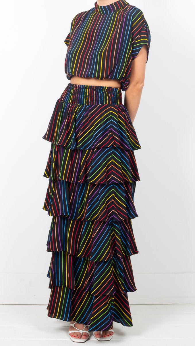 SWF Black Rainbow Striped Ruffle Maxi Skirt