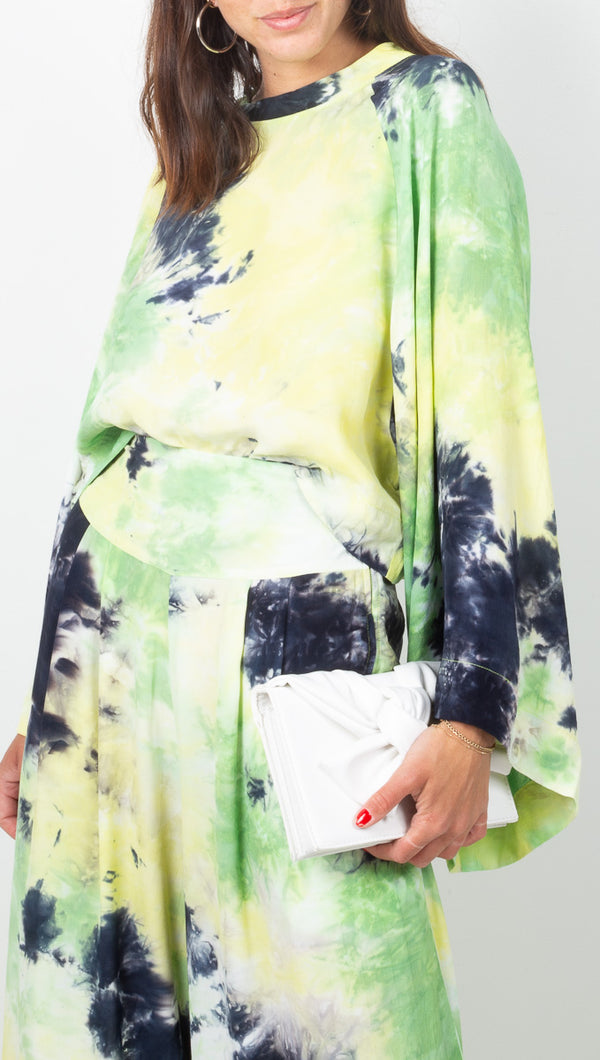 SWF Blue Green Tie Dye Bell Sleeve Blouse