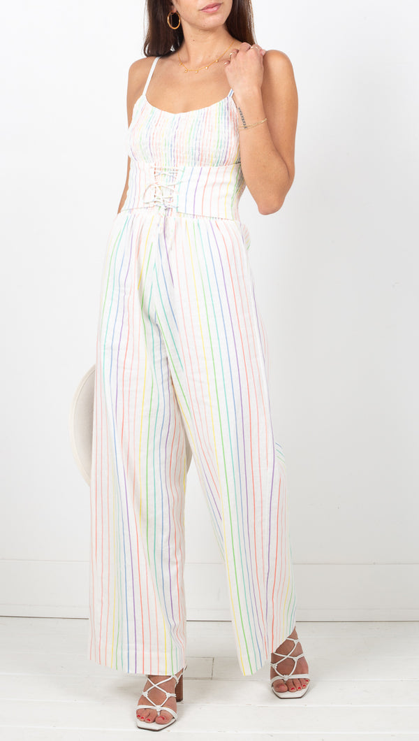 SWF White and Rainbow Striped Linen Corset Jumpsuit
