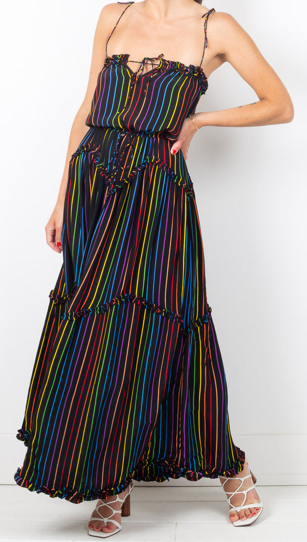 SWF Black Rainbow Striped Maxi Dress