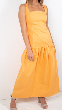 Tach Clothing Orange Cotton Dropped Waist A-Line Maxi