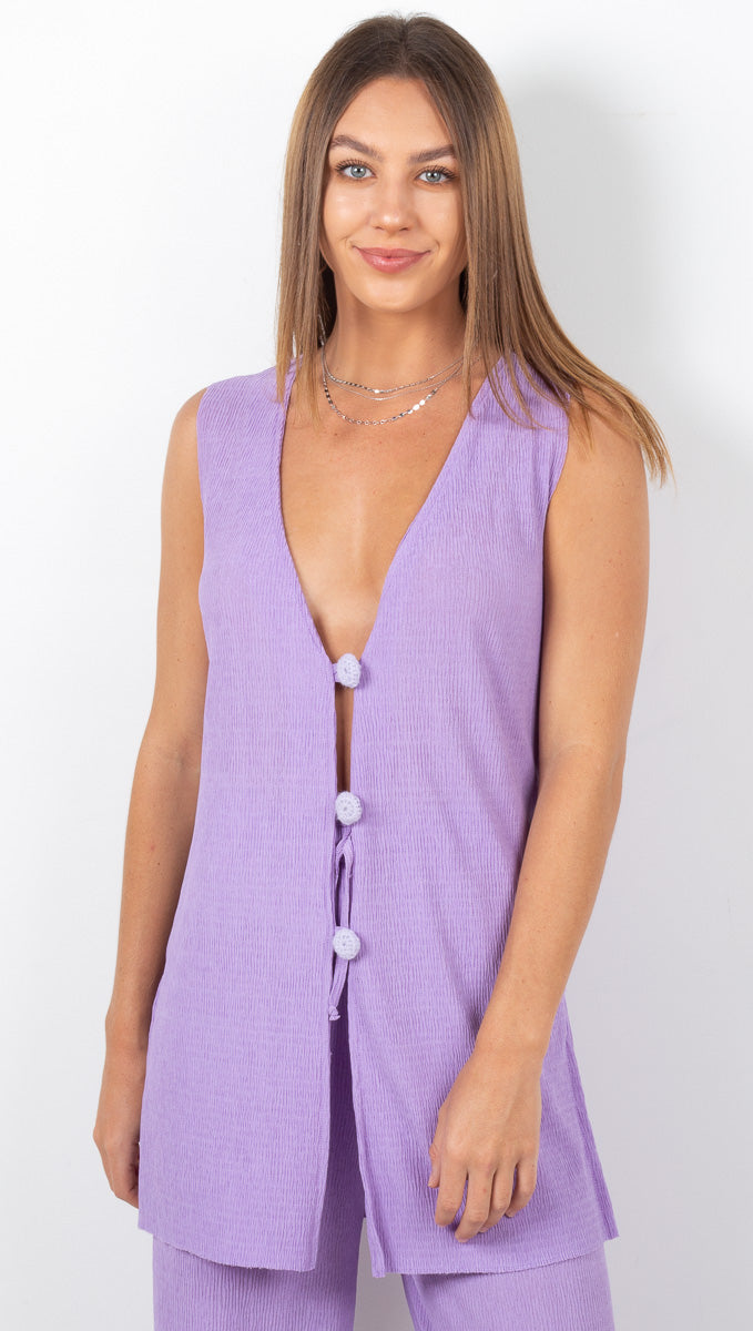 Ankine Pleated Top - Lilac