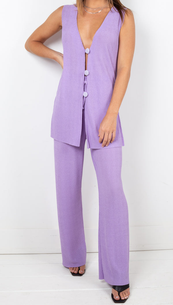 Tach Clothing Purple High Rise Soft Pleated Pants