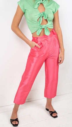 Tach Clothing Pink Taffeta High Rise Cropped Trousers