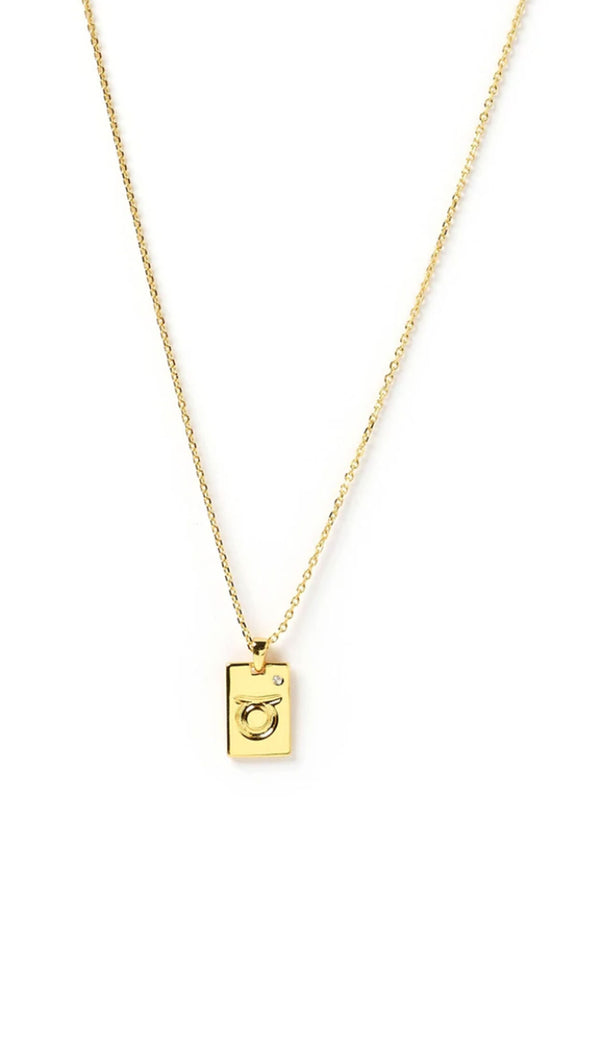 Zodiac Tag Necklace - Gold