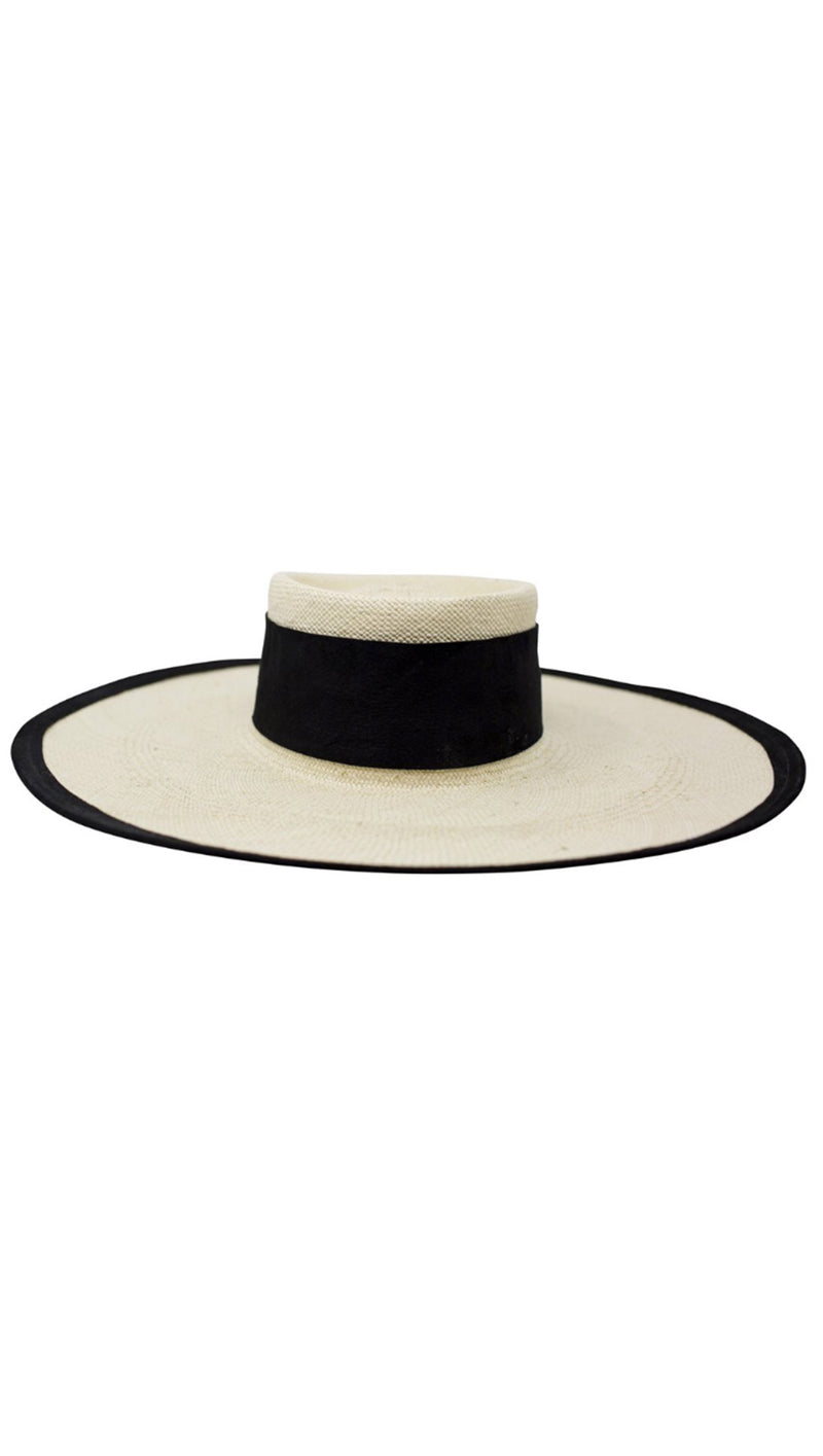 Teressa Foglia Straw Hat with black suede band