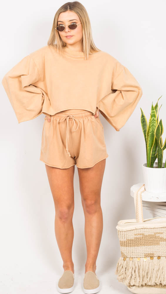 Tan Flare Long Sleeve Crop Sweater