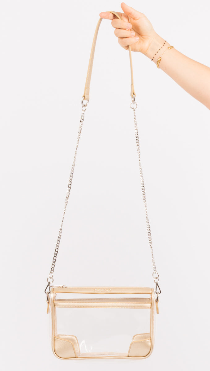 Policy Gold Clear Plastic Crossbody