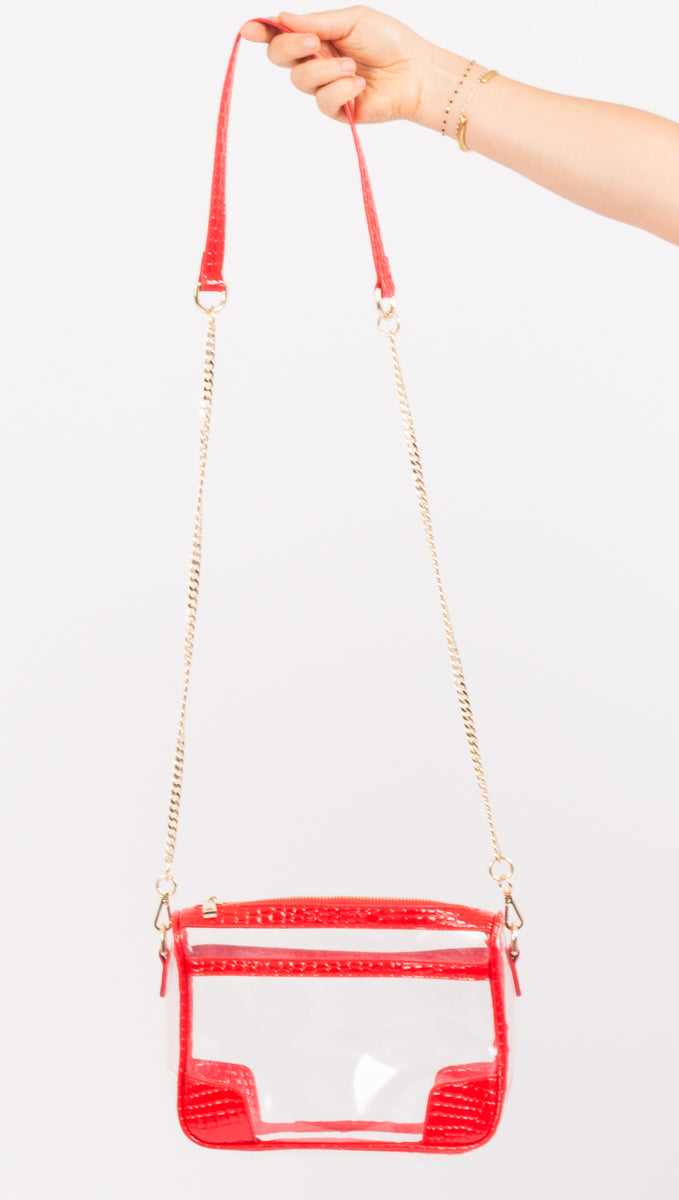 Policy Red Clear Crossbody
