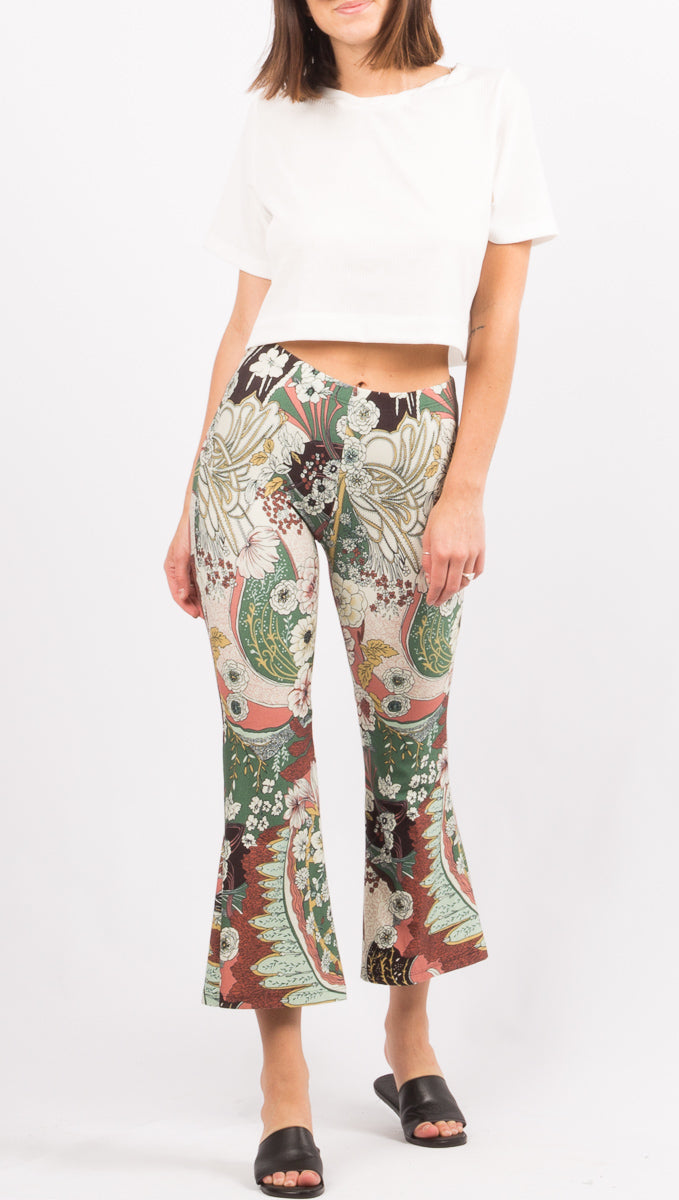 Novella Royale Green Pattern Crop Pants