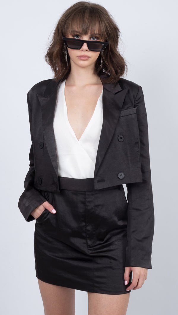 Boss Crop Blazer - Black