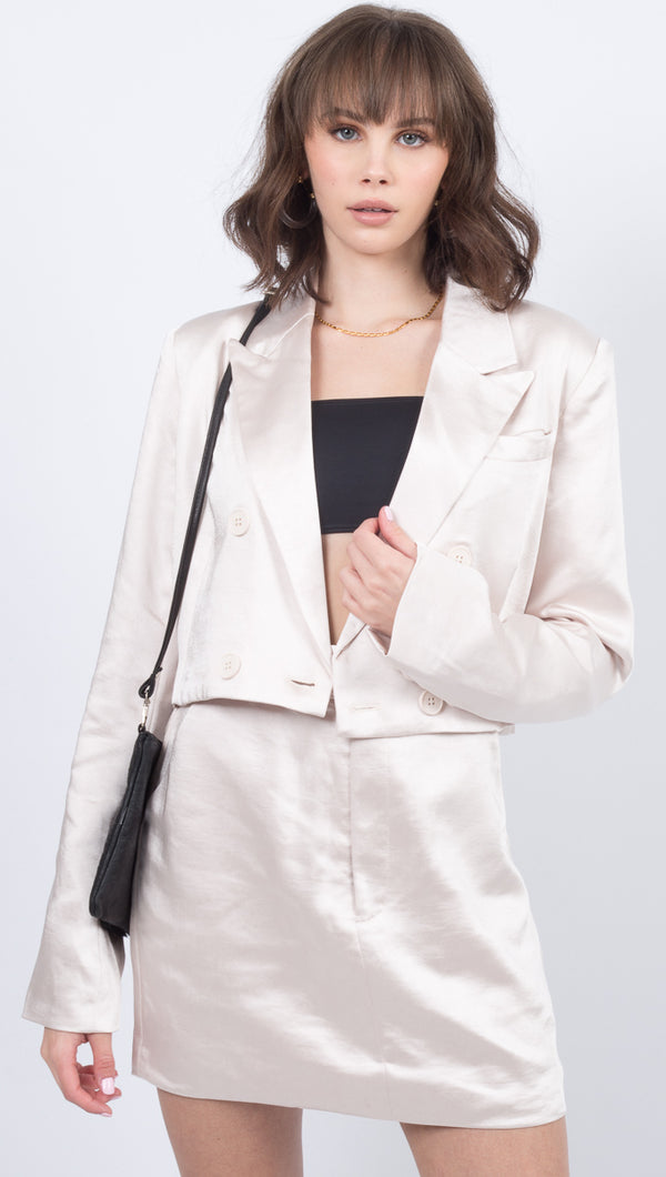 Third Form Nude Cropped Blazer