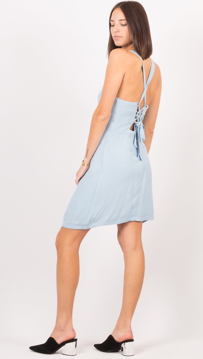 Bound Back Mini Dress - Powder Blue
