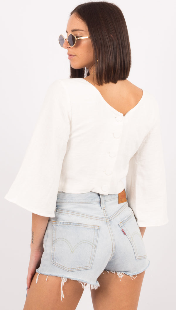 Closure Button Back Top - Natural