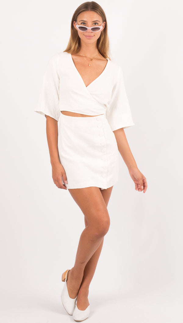 Third Form White Linen Mini Dress